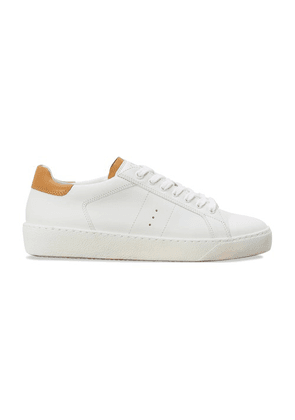 White and camel smooth calfskin sneakers