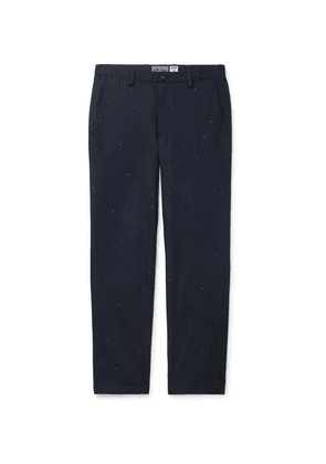 Blue Blue Japan - Navy Embroidered Wool-blend Twill Trousers - Navy