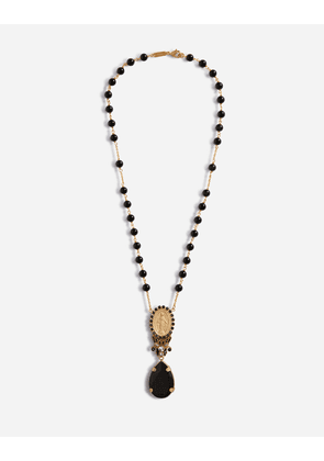 Dolce & Gabbana Bijoux - PENDANT NECKLACE WITH VOTIVE PENDANT AND CRYSTAL RHINESTONES BLACK/GOLD