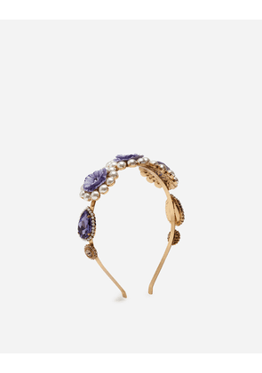 Dolce & Gabbana Bijoux - HEADBAND WITH RESIN AND RHINESTONE DECORATIONS GOLD