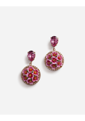 Dolce & Gabbana Bijoux - PENDANT EARRINGS IN RESIN AND RHINESTONE GOLD