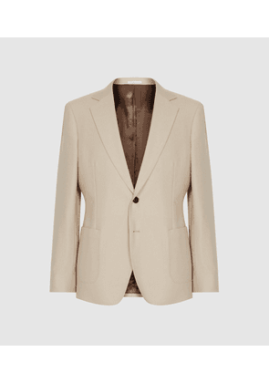 Reiss Bamboo - Brushed Wool Single Breasted Blazer in Stone, Mens, Size 36