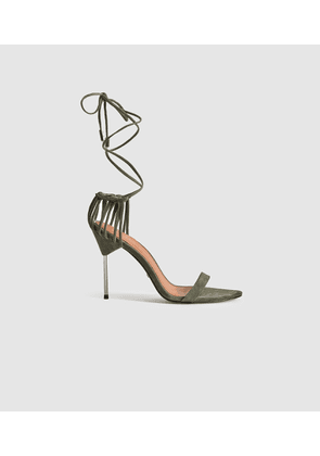 Reiss Zhane - Suede Strappy Wrap Sandals in Pale Green, Womens, Size 3