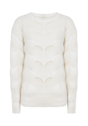 Reiss Dinah - Mohair Blend Patterned Jumper in Off White, Womens, Size XS