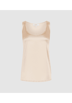 Reiss Remey - Silk Front Vest in Pale Nude, Womens, Size XS