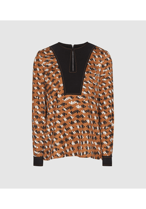 Reiss Felicity - Printed Blouse in Rust, Womens, Size 4