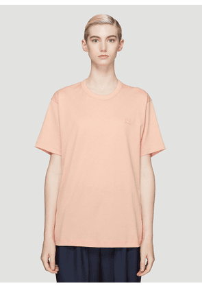 Acne Studios Nash Face Embroidered T-Shirt in Pink size XXS