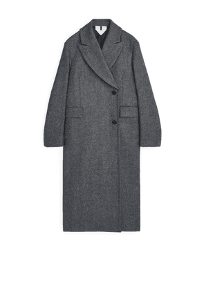 Double-Breasted Tweed Coat - Blue
