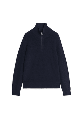 Wool & Cotton Half Zip Jumper - Blue