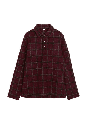 Wool Blend Pullover Shirt - Red