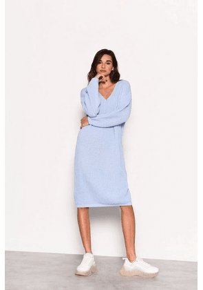 Womens **Pale Blue Knitted Midi Jumper Dress By Glamorous - Pale Blue, Pale Blue