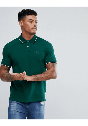 Armani Exchange slim fit tipped collar logo polo in green