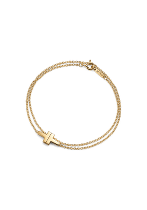 Tiffany T Two double chain bracelet in 18ct gold, medium