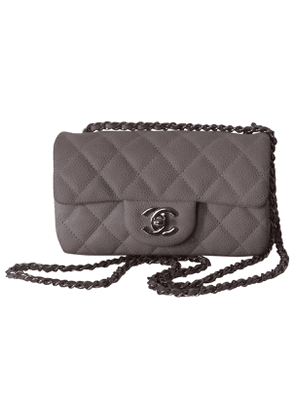 Chanel timeless/classique grey leather handbag
