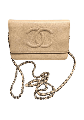 Chanel wallet on chain beige leather handbag