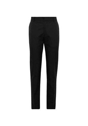 Alexander McQueen - Slim-fit Logo-embroidered Panama Cotton Trousers - Black