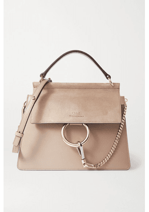 Chloé - Faye Leather And Suede Shoulder Bag - Gray