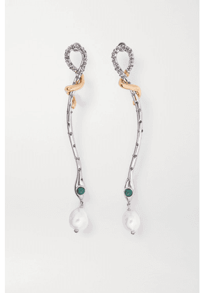 Chloé - Callie Silver And Gold-tone, Pearl, Crystal And Enamel Earrings - one size