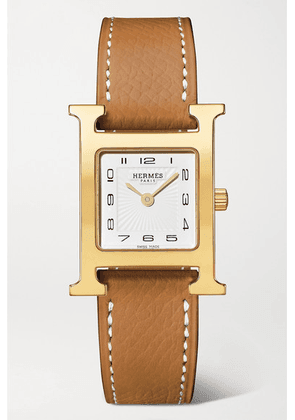 Hermès Timepieces - Heure H 21mm Small Gold-plated And Textured-leather Watch - Light brown