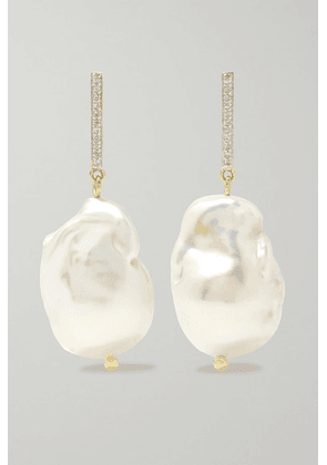 Mateo - 14-karat Gold, Pearl And Diamond Earrings - one size
