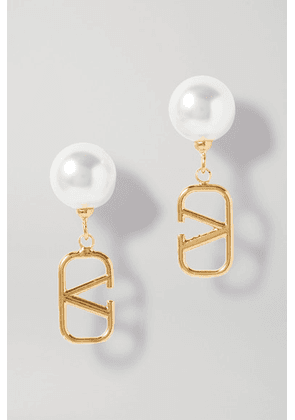 Valentino - Gold-tone Faux Pearl Earrings - one size