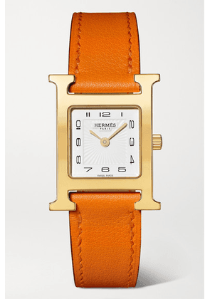 Hermès Timepieces - Heure H 21mm Small Gold-plated And Leather Watch - Orange
