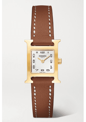 Hermès Timepieces - Heure H 17.2mm Very Small Gold-plated And Leather Watch - Brown