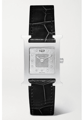 Hermès Timepieces - Heure H 26mm Stainless Steel, Alligator, Diamond And Mother-of-pearl Watch - Black