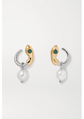 Chloé - Callie Gold And Silver-tone, Pearl, Enamel And Crystal Earrings - one size