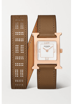 Hermès Timepieces - Heure H Double Tour 21mm Small Rose Gold-plated And Leather Watch - Taupe