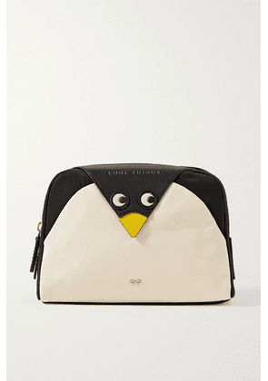 Anya Hindmarch - Cool Things Penguin Leather-trimmed Shell Cosmetics Case - Black