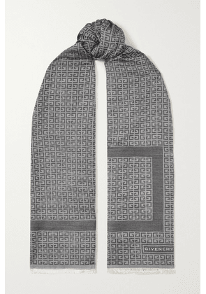 Givenchy - Fringed Silk And Wool-blend Jacquard Scarf - Gray