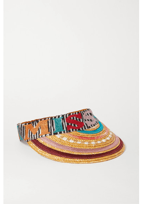 Missoni - Striped Straw And Crochet-knit Visor - Red
