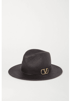 Valentino - Valentino Garavani Embellished Leather-trimmed Straw Fedora - Black