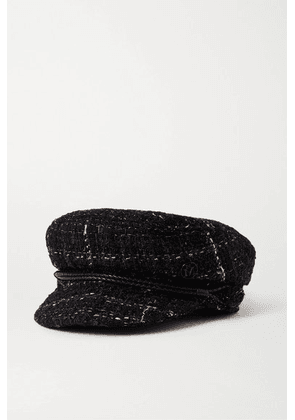 Maison Michel - New Abby Leather-trimmed Metallic Bouclé-tweed Cap - Black