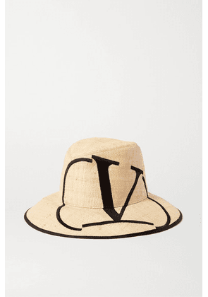 Valentino - Valentino Garavani Embroidered Straw Fedora - Yellow