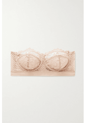 ELSE - Petunia Stretch-mesh And Corded Lace Underwired Strapless Balconette Bra - Blush