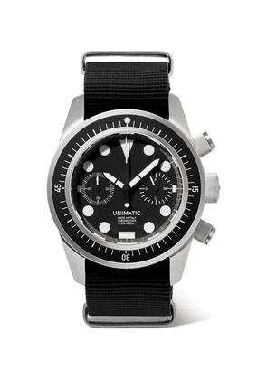Unimatic - U3-f Automatic Chronograph Stainless Steel And Nato Webbing Watch - Black