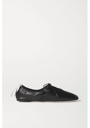Loewe - Logo-print Lace-up Leather Ballet Flats - Black