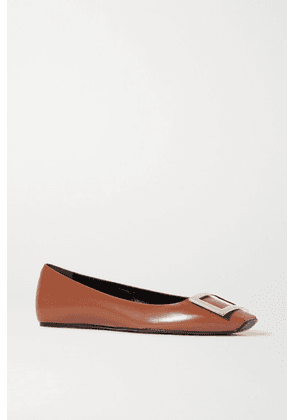 Roger Vivier - Trompette Quadrata Leather Ballet Flats - Tan