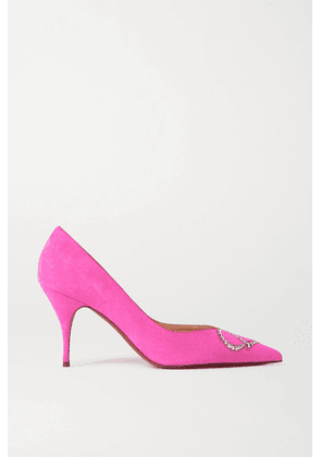 Christian Louboutin - Cl Strass 80 Crystal-embellished Suede Pumps - Pink