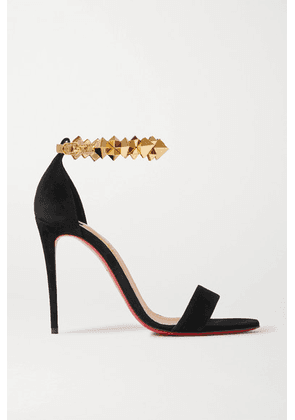 Christian Louboutin - Planetava 100 Studded Suede And Leather Sandals - Black