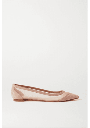 Christian Louboutin - Galativi Suede And Mesh Point-toe Flats - Neutral