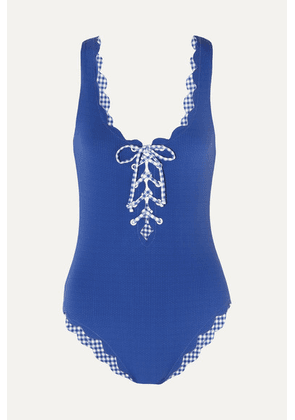 Marysia - Palm Springs Scalloped Lace-up Stretch-crepe Swimsuit - Blue
