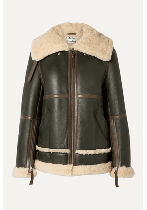 Acne Studios - Raf Long Leather-trimmed Shearling Jacket - Army green