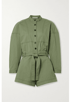 10 Crosby by Derek Lam - Calla Belted Cotton-blend Twill Playsuit - Army green