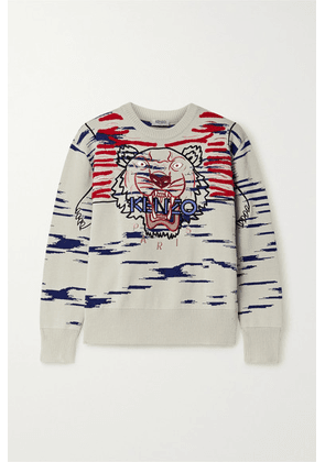 KENZO - Embroidered Appliquéd Cotton-blend Sweater - Off-white