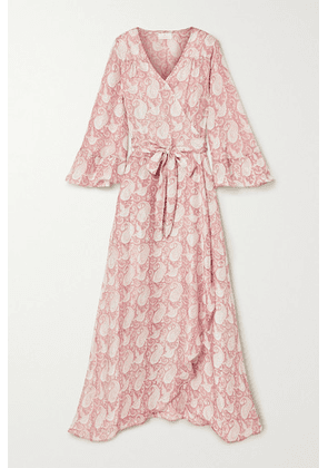 Hannah Artwear - Luna Ruffled Paisley-print Silk Crepe De Chine Wrap Dress - Antique rose