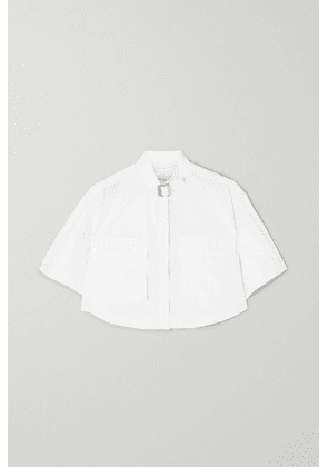 we11done - Buckled Cropped Woven Shirt - White