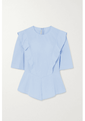 Stella McCartney - + Net Sustain Ruffled Cotton-poplin Peplum Blouse - Blue